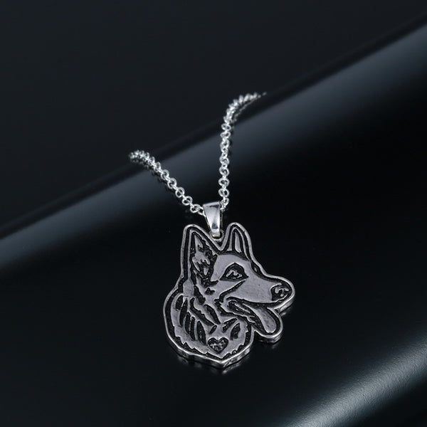 Cute German Shepherd Face Puppy Pet Lovers Necklaces