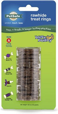 Busy Buddy Natural Rawhide Rings Dog Treats