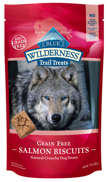 Blue Buffalo Wilderness Trail Treats Salmon Biscuits Grain-Free Dog Treats, 10-oz