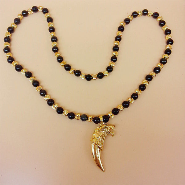 Natural Obsidian Precious Stone Gold Wolf Tooth Design Necklace