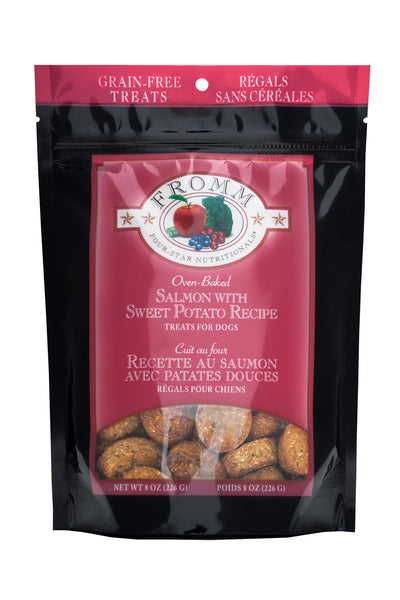 Fromm Four-Star Nutritionals Grain-Free Salmon with Sweet Potato Recipe Dog Treats, 8-oz bag