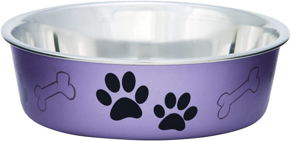 Loving Pets Bella Bowls Pet Bowl, Metallic Grape