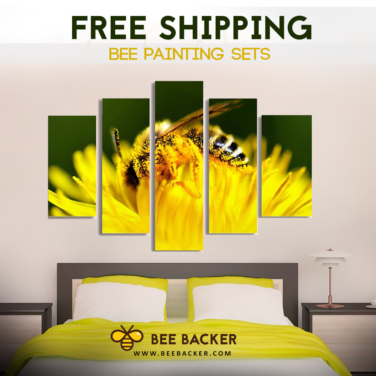 Bright Bee Floral 5-Piece Wall Art – Animal Backer