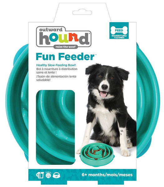 Outward Hound Fun Feeder Interactive Dog Bowl, Teal