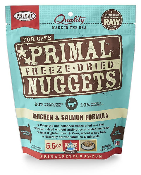 Primal Chicken & Salmon Formula Nuggets Grain-Free Freeze-Dried Cat Food
