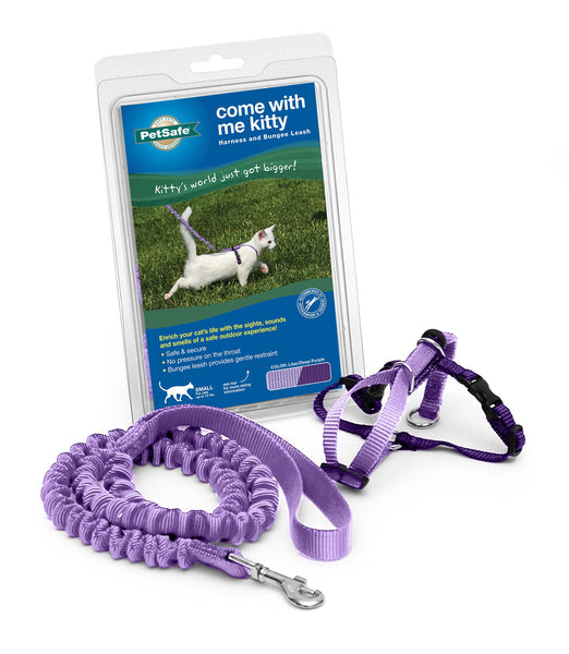 PetSafe Come With Me Kitty Harness & Bungee Cat Leash, Lilac/Deep Purple