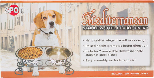 Ethical Pet Mediterranean Double Diner Elevated Pet Bowls