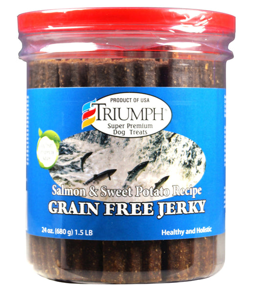 Triumph Salmon & Sweet Potato Recipe Grain-Free Jerky Dog Treats, 24-oz jar