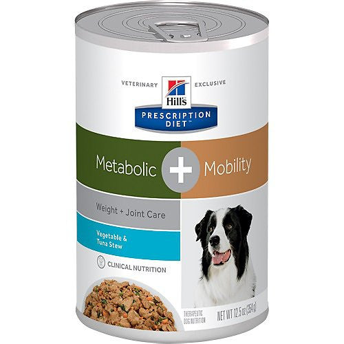 Hill's Prescription Diet Metabolic Weight + Mobility Tuna & Vegetable Stew Canned Dog Food, 12.5-oz, case of 12