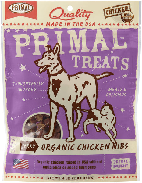 Primal Jerky Organic Chicken Nibs Dog & Cat Treats, 4-oz bag