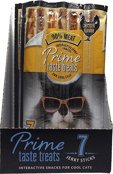 Prime Taste Treats Interactive Jerky Snacks Chicken Flavor Cat Treats, 7 pack