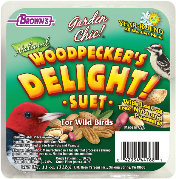 Brown's Garden Chic! Woodpecker's Delight! Suet Wild Bird Food, 11-oz tray