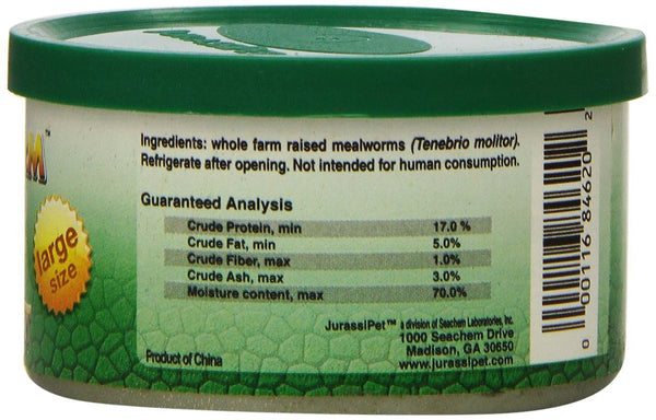 JurassiPet JurassiDiet EasiWorm Large Mealworms Reptile Food, 1.2-oz can