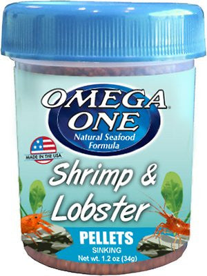 Omega One Shrimp & Lobster Pellets Sinking Crustacean Food, 1.2-oz jar