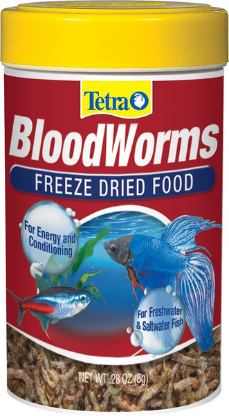Tetra BloodWorms Freeze-Dried Freshwater & Saltwater Fish Food, .28-oz jar