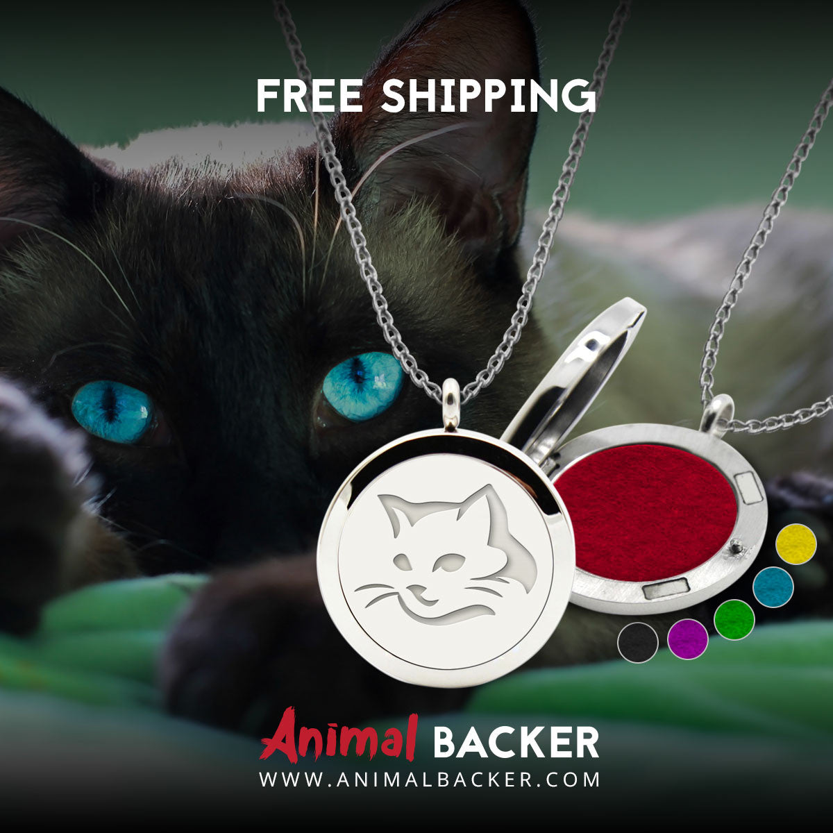 aroma theraphy oil diffuser necklace cat animal backer. Black Bedroom Furniture Sets. Home Design Ideas