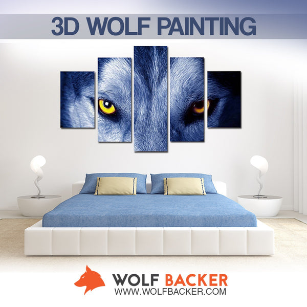 3D ALPHA WOLF BLUE PAINTING