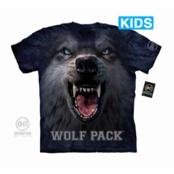 Big Face Wolf Pack Kids T-Shirt