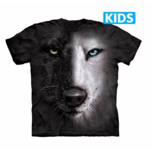 Black And White Wolf Face Kids T-Shirt