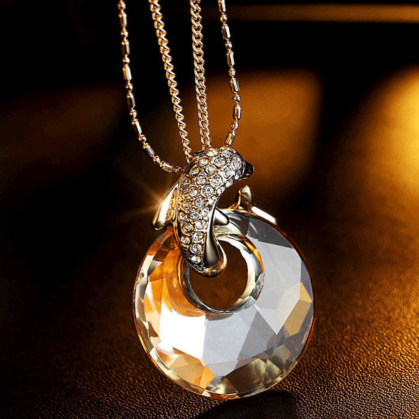 Dolphin Backer Crystal Long Pendant Necklace