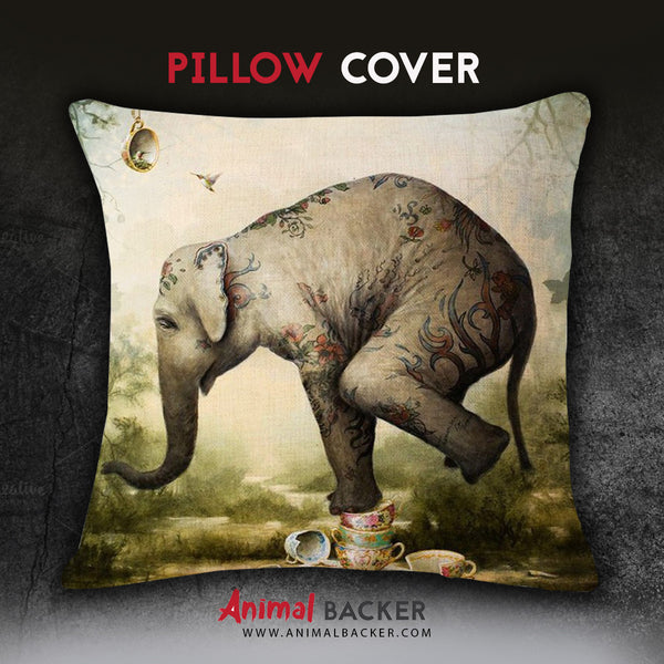 Happy Printed Elephant Pillow Cover