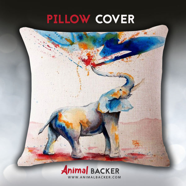 Painting Elephant Pillow Cover
