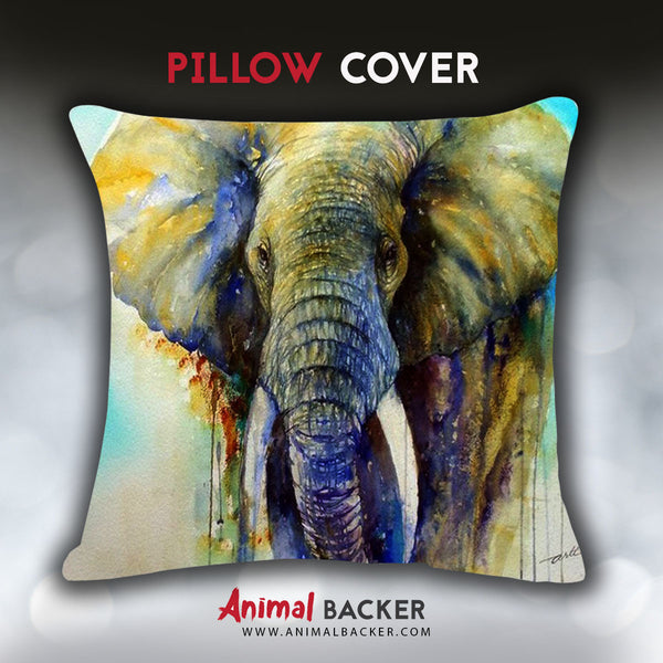 Creative Watercolor Elephant Pillow Cover