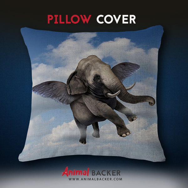 Flying Elephant Pillow Cover