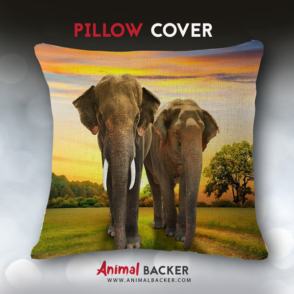 Couple Elephant Pillow Cover