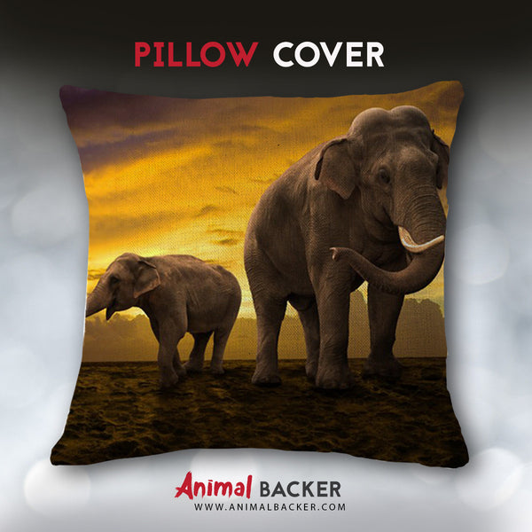 Elephant Sunset Pillow Cover