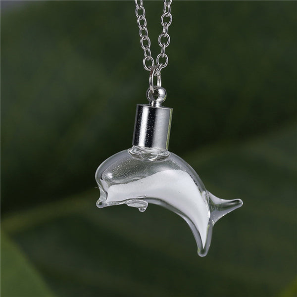 Dolphin Backer Glow In the Dark Vial Necklace