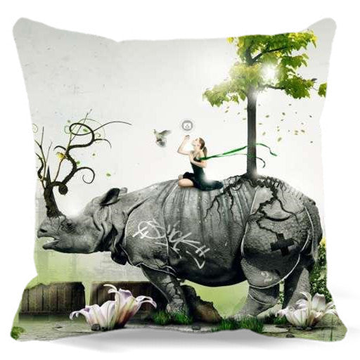 ***Cute Rhino Pillow Cover