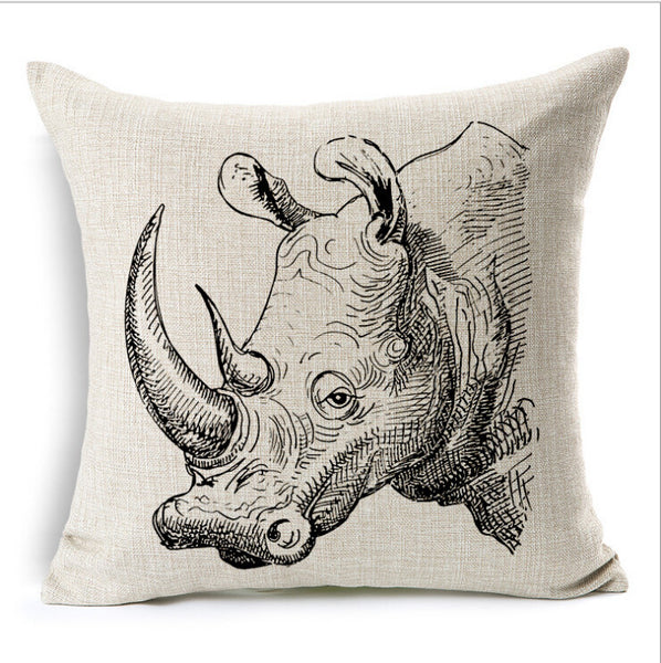 ****Cute Rhino Pillow Cover