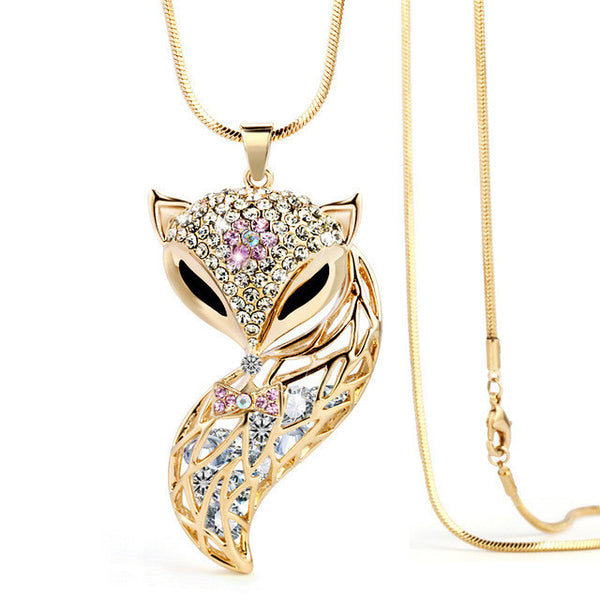 Lucky Fox Rhinestone Pendant Necklace