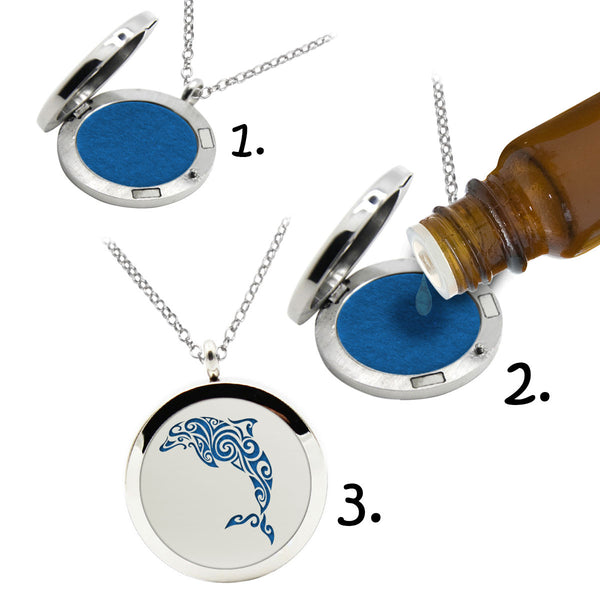 AROMA THERAPHY OIL DIFFUSER NECKLACE (Dolphin)