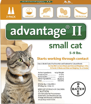 Advantage II Flea Treatment for Cats 5 lbs to 9 lbs & Ferrets