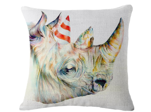 ******Cute Rhino Pillow Cover