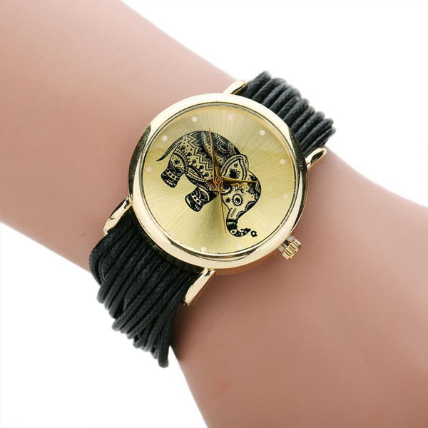 Natural Rope Elephant Quartz Watch