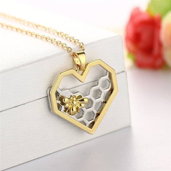 Gold Bee On The Silver Honeycomb Necklace For Women