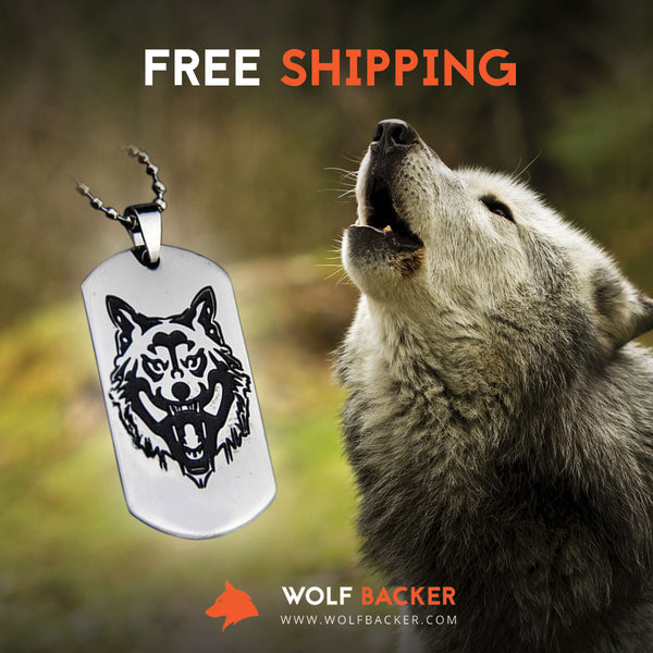 Stainless Steel Wolf Head Dog Tag  Steel chain for men