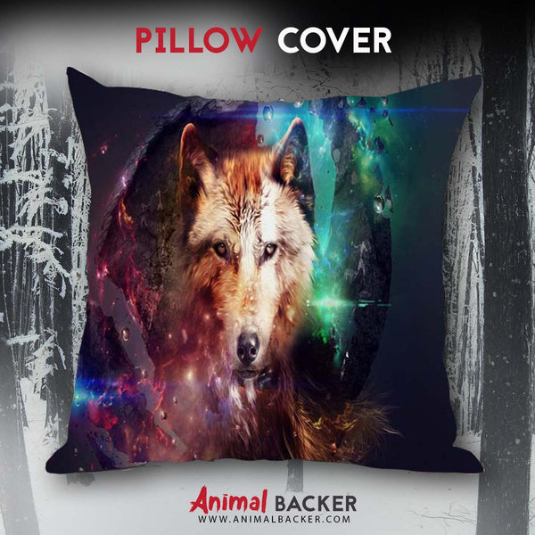 Galactic Wolf Pillow Cover