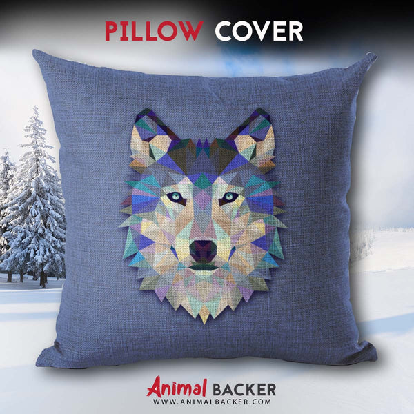 Geometric Gray Wolf Pillow Cover