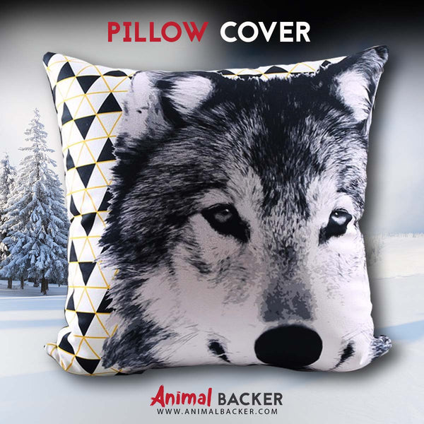 Decorative White Wolf Pillow Cover