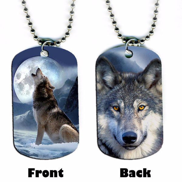 Wolf howling at moon spiritual dog tag necklace - $14.95 ONLY FOR 3 DAYS!