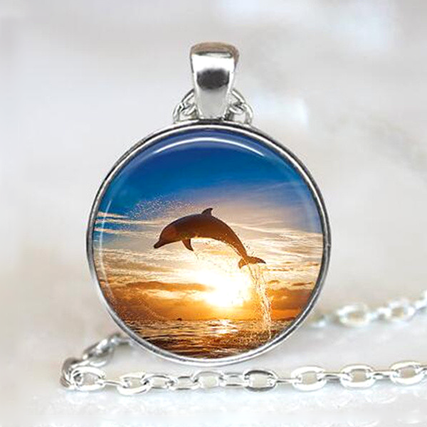 Dolphin Backer Pendant Necklace