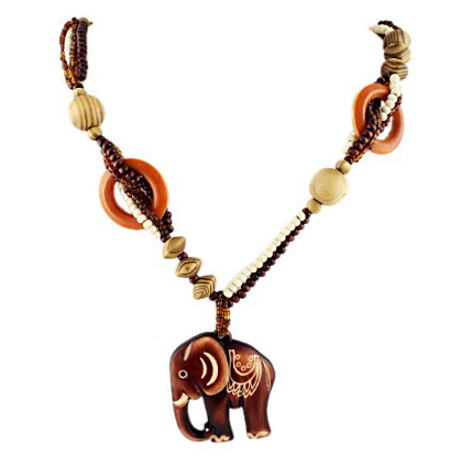 Bead Wood Elephant Maxi Necklace
