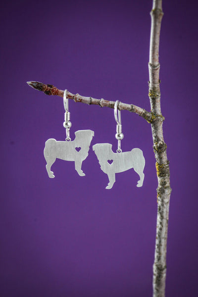 Pug Silver Earrings