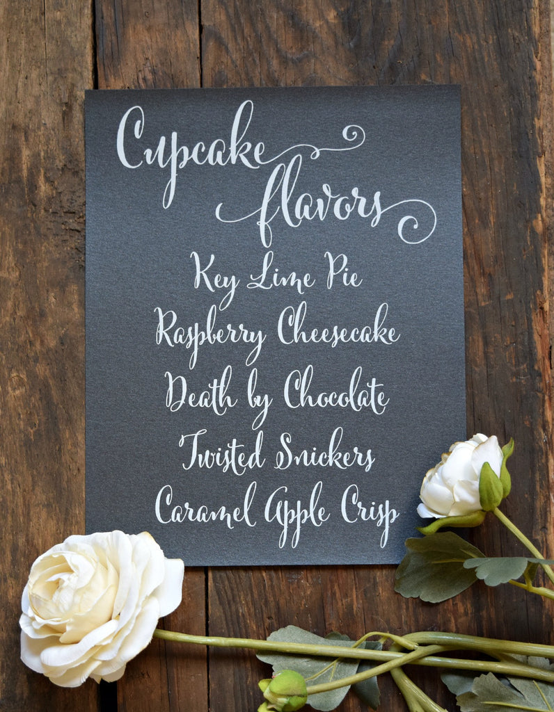 cupcake flavors wedding sign