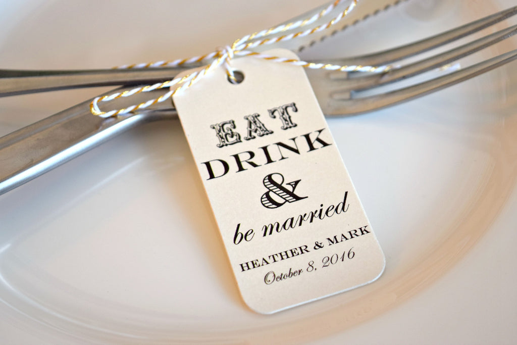 SET OF 20 eat, drink and be married wedding favor tags