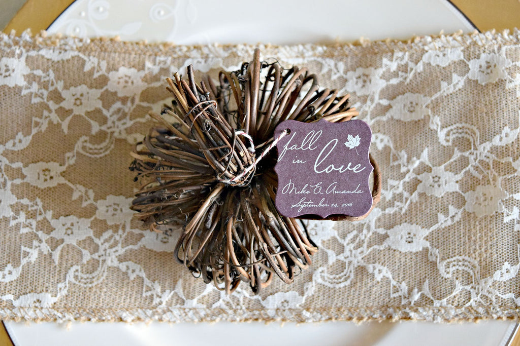 SET OF 20 fall in love wedding favor tags